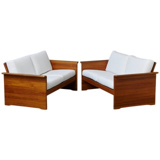 Newly Upholstered Tarn Stole Solid Teak Love Seats / Two-Seat, Circa 1980s - a Pair For Sale