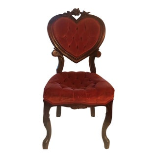 1950s Vintage French Victorian Red Velvet Sweet Heart Tufted Boudoir Chair For Sale