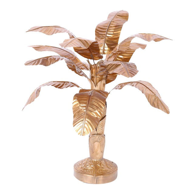 Midcentury Brass Palm Tree Sculpture For Sale