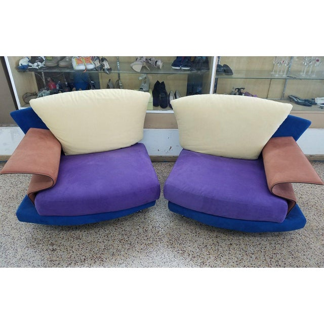 Purple 1990s Vintage Saporiti Modern Lounge Chairs - A Pair For Sale - Image 8 of 8
