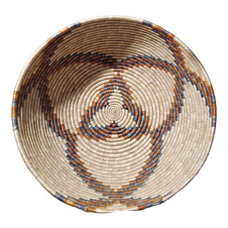 1980s Vintage Hand Coiled African Basket For Sale