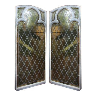 Early 20th Century Vintage Stained Glass Windows - a Pair For Sale