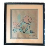 Image of Signed Abstract Mid-Century Wood Block Print For Sale