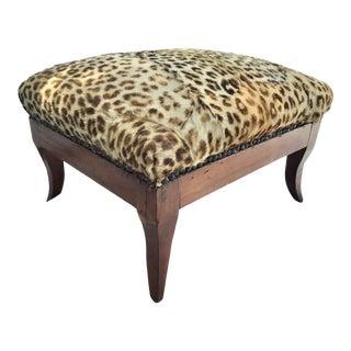 19th Century Biedermeier Stool Upholstered in Leopard For Sale