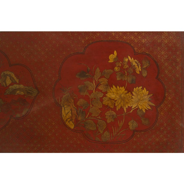 Late 19th Century Pair of Asian Chinese Style Red Lacquer Chinoiserie Decorated Altar Console Table For Sale - Image 5 of 10