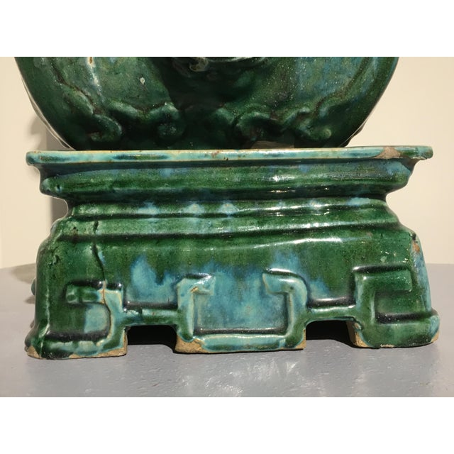 High End Chinese Green Glazed Vase On Stand Qing Dynasty Mid 19th