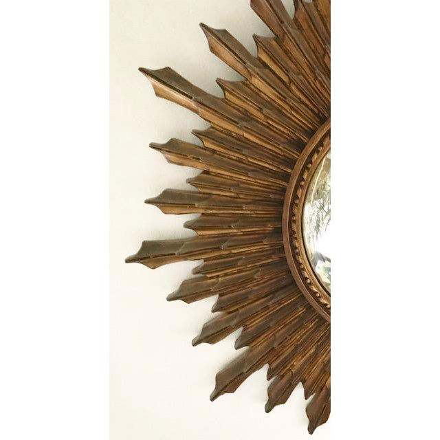 Glass Large Antique Wood Convex, Starburst Mirror For Sale - Image 7 of 8