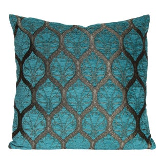 "Turkish Ottoman Trellis Chenille Decorative Throw Pillow Turquoise - 18"" For Sale"