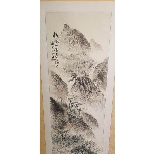 1960s Vintage Korean Hand Painted Seasons Silk Screen For Sale - Image 4 of 11