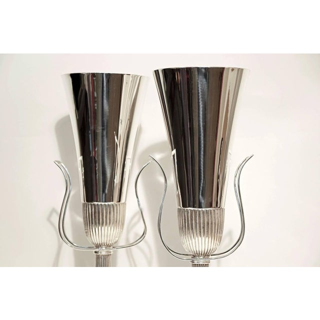 Pair of Tommi Parzinger Silver Plate Table Lamps for Lightolier - Image 2 of 5