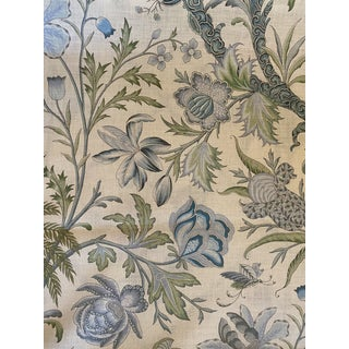 Cowtan & Tout Arabella Linen Fabric in Sky and Fern 3 Plus Yards For Sale