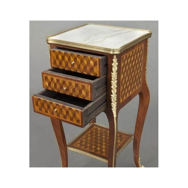 Vintage French Louis XV Marquetry and Bronze Nightstands With Marble Top - a Pair For Sale In Dallas - Image 6 of 8