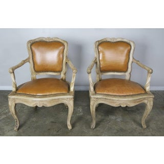 Pair of French Louis XV Style Carved Bleached Walnut and Leather Armchairs $4,500 Preview