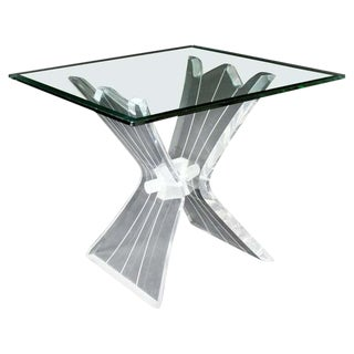 Mid Century Modern Sculptural Lucite Acrylic Glass Side End Table 1970s For Sale