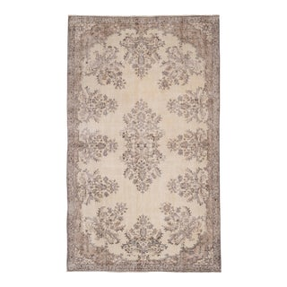 "Handknotted Turkish Oushak Rug 5'7"" X 9'3"" For Sale"