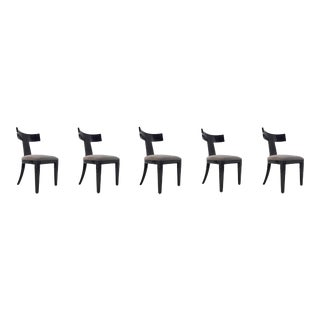 Interlude Home Modern Lacquer Wood Klismos Dining Chair Set of Five For Sale