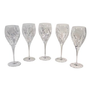 Mikasa Agena Vertical Curved Lines Blown Crystal Water Goblets - Set of 5 For Sale