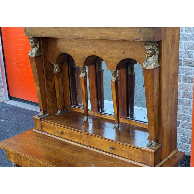 Antique English Regency Amboyna Egyptian Revival Pier Console Table W/ Upper Arched Mirror Top C1850 For Sale - Image 12 of 12