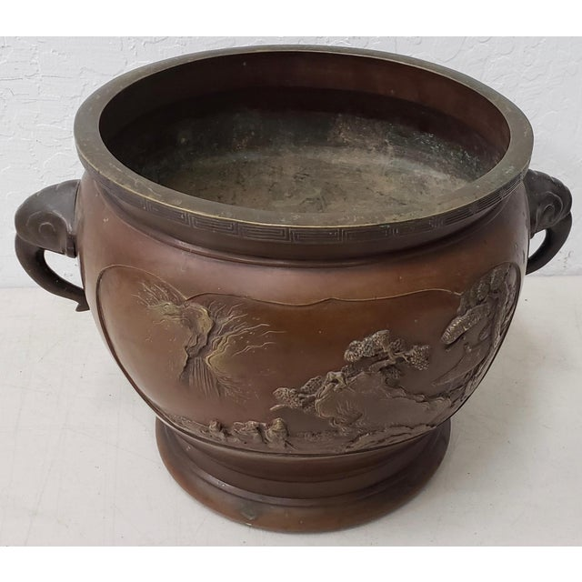 Early 20th Century Chinese Raised Relief Bronze Planter For Sale - Image 4 of 9