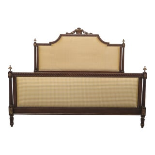 King Size French Louis XVI Style Upholstered Bed For Sale