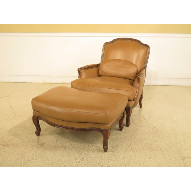 French Louis XV Style Leather Lounge Chair & Ottoman - A Pair - Image 13 of 13