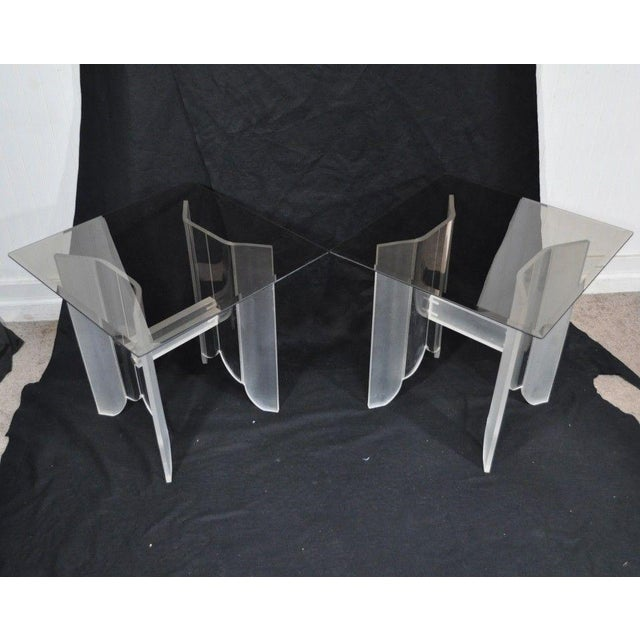 Vintage Pair Mid Century Modern Frosted Lucite & Glass Butterfly End Side Tables For Sale - Image 4 of 11