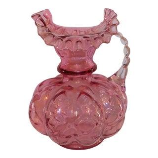 1940s Fenton Cranberry Glass Pitcher For Sale