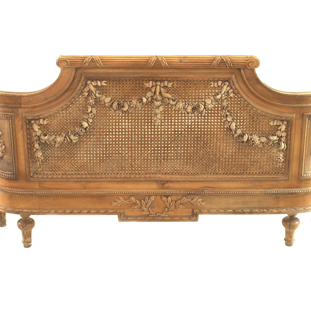Late 19th Century French Louis XVI Style Carved Walnut and Cane Bed For Sale - Image 5 of 7
