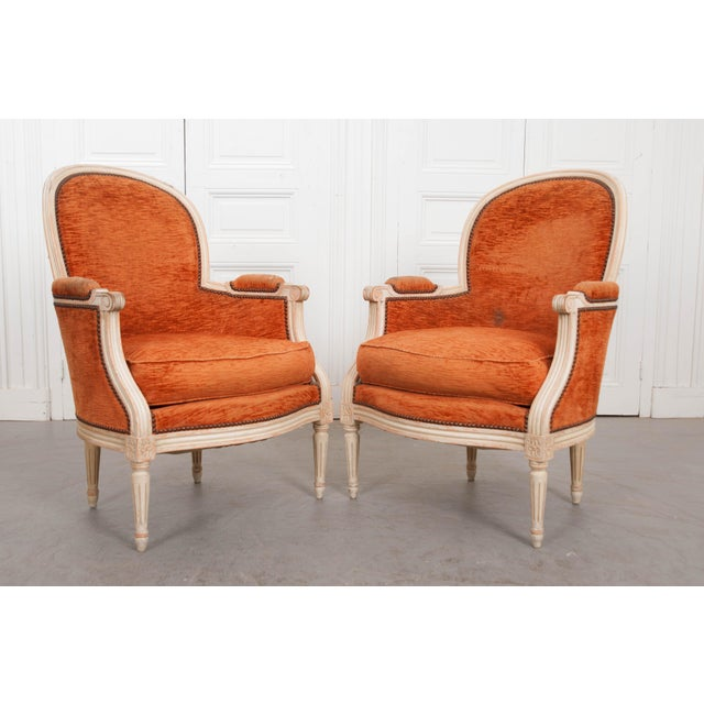 French 19th Century Painted Louis XVI Style Bergères- A Pair For Sale - Image 10 of 13