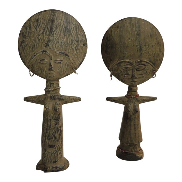 Akua'ba Fertility Dolls With Glass Beads Adornments For Sale