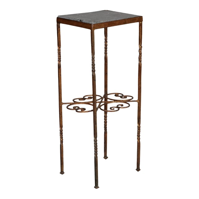 Italian Gilt Iron Statue Stand With Marble Top For Sale