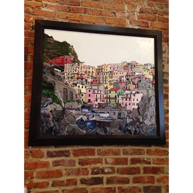 An acrylic on canvas 36″ x 40″ original painting of Manarola in Cinque Terre, Italy. Measures around 42″ x 46″ with the...