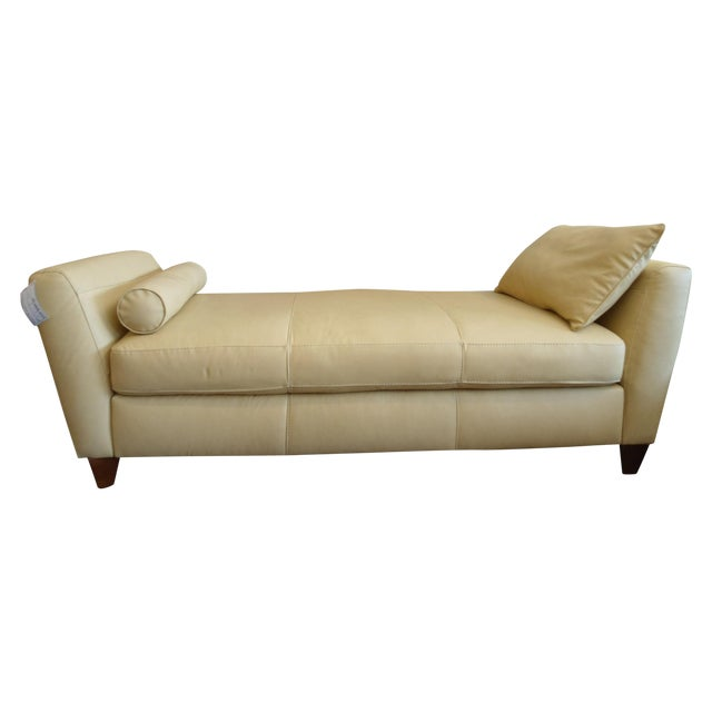 Leather Buttercream Daybed Bench - Image 1 of 5
