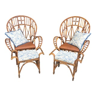 Contemporary Florida Regency Peacock Fan Chairs With Ottomans & Custom Cushions and Pillows- a Pair For Sale