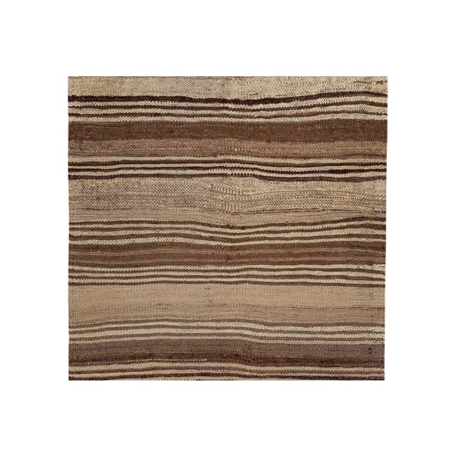 Turkish Kilim Rug With Brown Stripes on Beige Field For Sale - Image 4 of 8