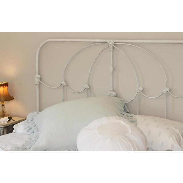 Cottage Vintage Inspired French Farmhouse Shabby Chic Iron Queen Bed For Sale - Image 3 of 5