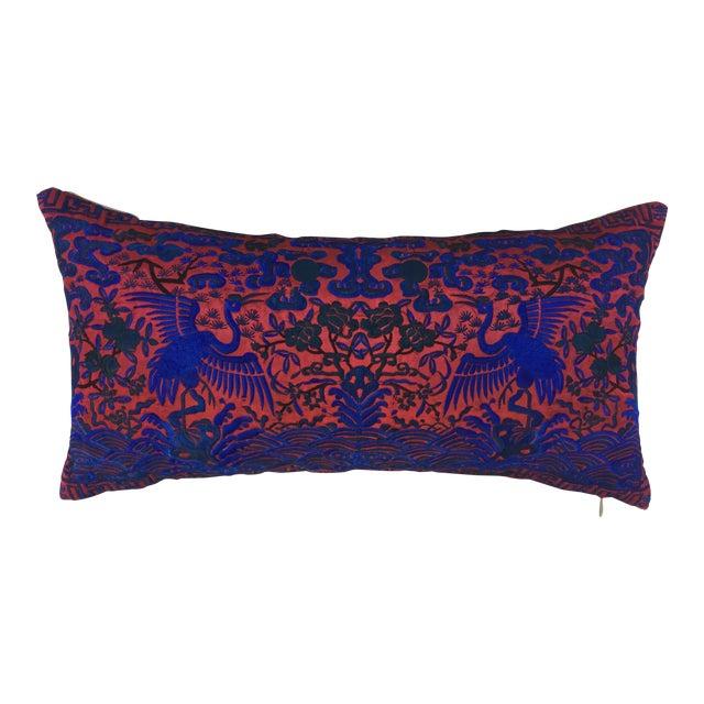 Chinoiserie Silk Crane Boudoir Pillow - Image 1 of 6