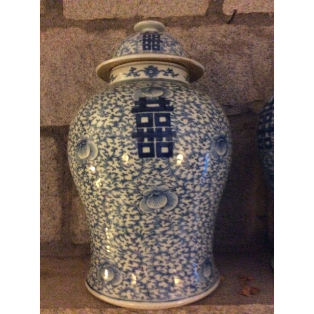 "Large 17"" Blue and White Chinese Ginger Jars, not exact match. I am unsure about the age of these Pieces, probably much..."