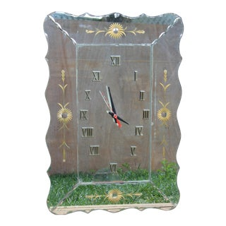 Mid. 20th C. Italian or American Hollywood Regency Mirrored Glass and Guiled Wall Clock For Sale