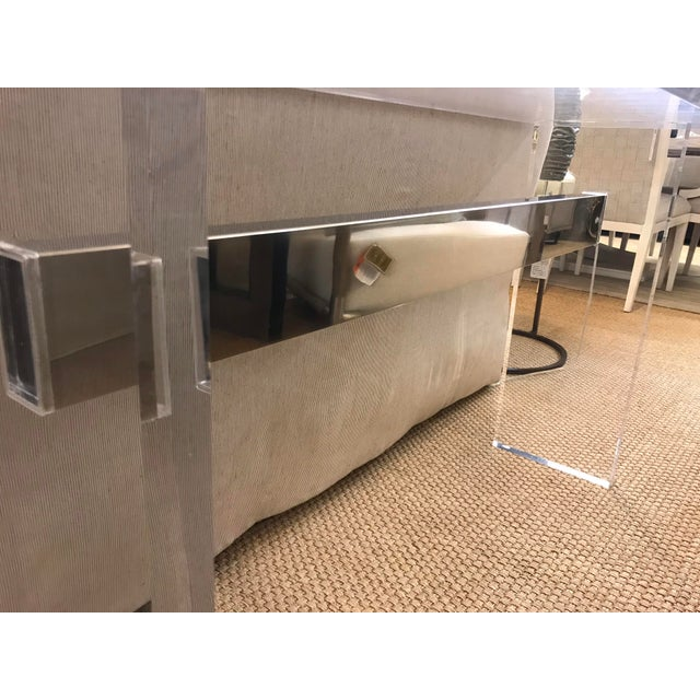 Acrylic Console Table With Metal Beam For Sale In Los Angeles - Image 6 of 7