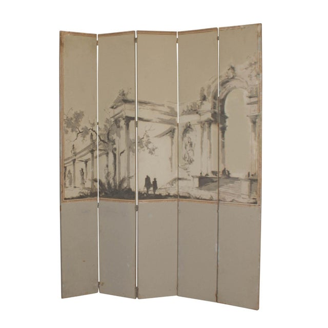 Vintage French Wallpaper Screen 1950 For Sale - Image 4 of 5