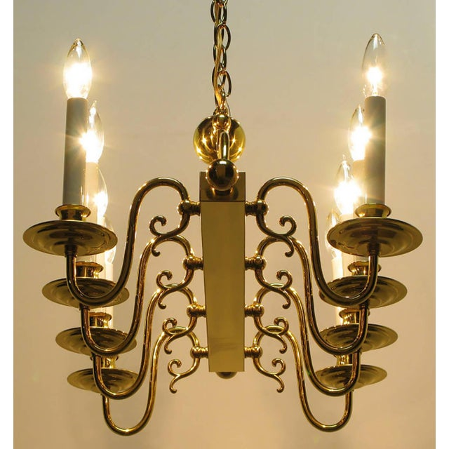 Eight-Arm Linear Brass Rectangular Chandelier For Sale - Image 9 of 10