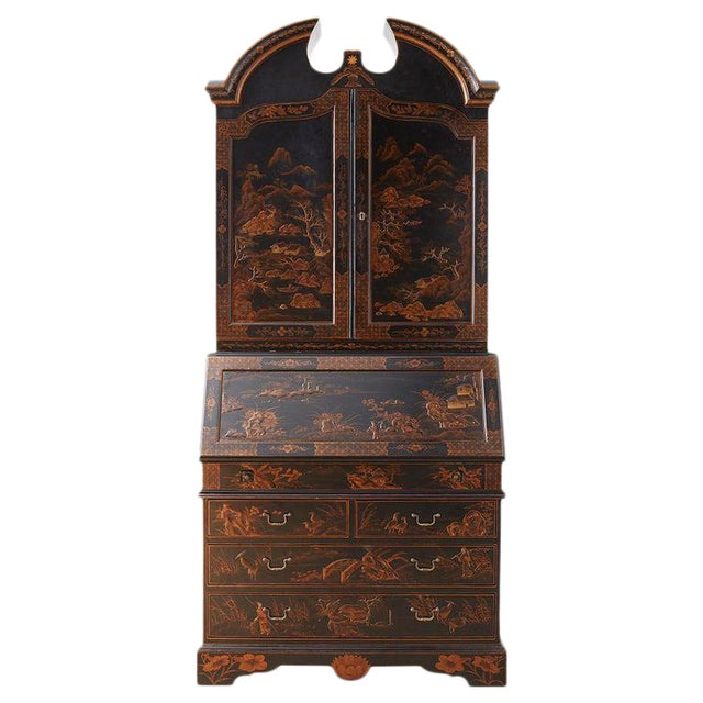 English Chinoiserie Style Lacquered Parcel-Gilt Secretary For Sale
