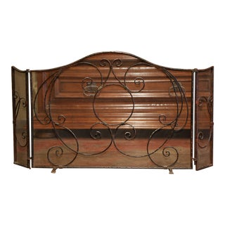 Mid-20th Century French Gothic Wrought Iron Fireplace Screen With Mesh For Sale