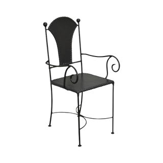Wrought Iron & Leather Arm Chair For Sale