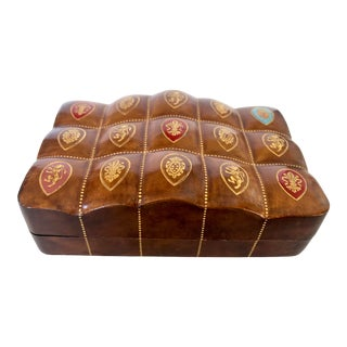 'Quilted' Italian Leather Box For Sale