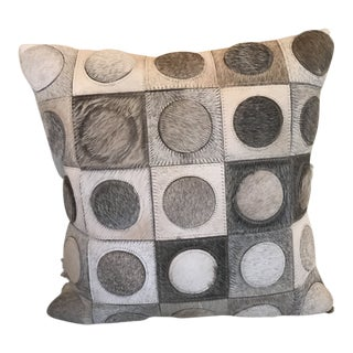 Cowhide Leather Pillow Circle on Squares. For Sale