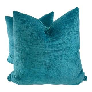 "Lee Jofa ""Vintage Velvet"" in Peacock 22"" Pillows-A Pair For Sale"