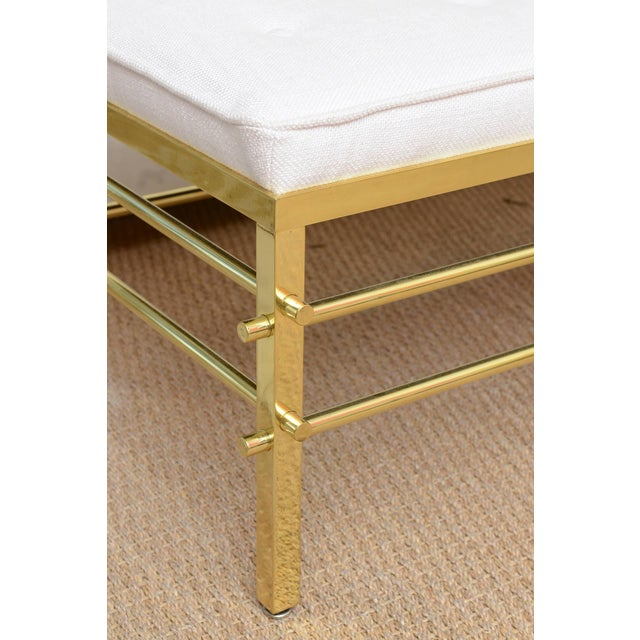 Stunning Tommi Parzinger Style Solid Brass and Upholstered Rare Modernist Bench - Image 3 of 9
