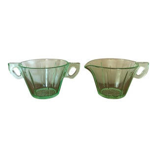 Final Markdown! Vintage Green Depression Glass Creamer and Sugar Bowl - a Pair For Sale